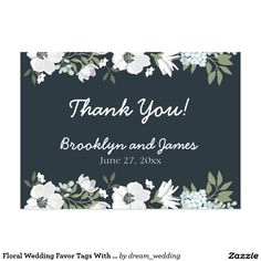 Floral Wedding Favor Tags With Flowers Large Business Card