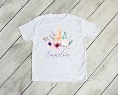Floral unicorn kids tee with custom name