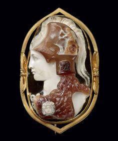 A ROMAN SARDONYX CAMEO OF MINERVA JULIO-CLAUDIAN PERIOD, CIRCA 1ST CENTURY A.D.   | Christie's