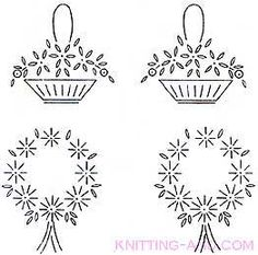 Flower baskets and wreath embroidery designs