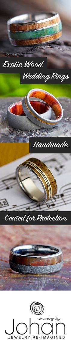 Browse our huge selection of naturally beautiful, wood wedding bands and wood engagement rings. Over 100 wood types to choose from!