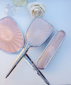 Stunningly beautiful set comprising of a bevelled mirror, hair brush and clothes brush. Such a pretty pink set with an embossed pattern on the Vintage Dressing Tables, Dressing Table Set, Art Deco Vanity, Chrome Handles, Stunningly Beautiful, Vanity Set, Hair Brush, Vintage Gifts, Pretty In Pink