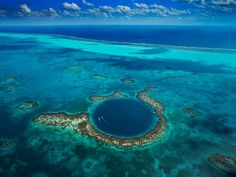 The Great Blue Hole at Lighthouse Reef in Belize. One of the images from the Planet Ocean documentary. Picture: Yann Arthus-Bertrand