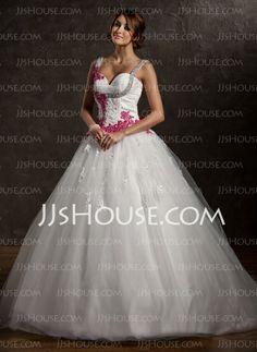 Vestidos de noiva - De baile Coração Cauda capela Cetim Tule Vestidos de noiva com Pregueado Renda Cintos Apliques