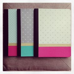 Girly DIY covered composition books, using paper, and wasi tape