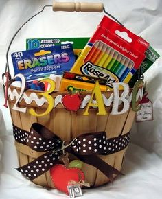Back to School is for teachers too! Welcome your new instructor with a sweet basket of goodies. / Image via Hand to Paper blog