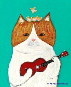 Illustration by pepe shimada, Gold Ukulele Cat.