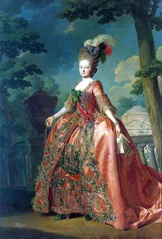 Maria Feodorovna, Tsarina of Russia, formerly Sophie-Dorothea of Württemberg  The sash and badge that Maria wears were exclusive to Russia. The sash was a symbol of status and badge was to honor the current ruler, in this case: Catherine the Great.