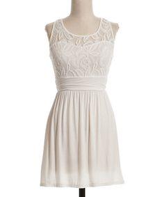 pretty! Ivory Lace-Overlay A-Line Dress - Women