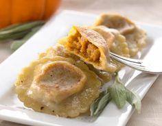 Homemade Pumpkin and Sage Ravioli-  Finally! A savory pumpkin recipe!