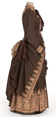 Dress, 2-piece, printed percale, silk ribbon, 1885