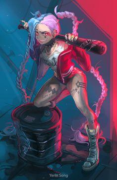 Jinx-Harley Quinn, Yerin Song on ArtStation at https://www.artstation.com/artwork/BaVD6