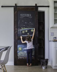 Shop the fun and practical Sliding Chalkboard Barn Door that is perfect for your kitchen, pantry or playroom. The two panel design brings added durability, shop for your chalkboard door today. Fintorp Ikea, Porta Diy, Door Design, House Design, Wall Design, Kitchen Pantry Doors, Barn Door Pantry, Kitchen Pantries, Interior Barn Doors