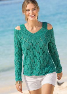 Crochet Lace Blouse and Pattern Knitting Paterns, Lace Knitting, Knitting Stitches, Knit Patterns, Blouse Patterns, Crochet Blouse, Knit Crochet, Knit Fashion, Crochet Clothes