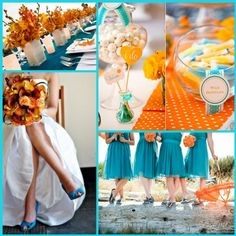 IF I did my wedding over again, I would most definitely use these colors!! Love this orange & teal.wedding colour combination trends!