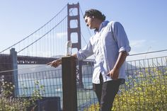 The happy couple posed for pics at San Francisco landmarks like the Golden Gate Bridge. | This Guy Took Engagement Photos With A Burrito