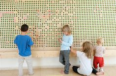I love this idea. very good for motoric development (a board with round holes, for kids to enter colored wine bottle caps and create a pixel-image