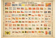 Johnson's New Chart of National EmblemsChromolithograph from Johnson's New Illustrated Family Atlas titled New Chart of National Emblems, 1863. Features colorful national flags from the 19th-century, both flags flown by ships and international maritime signal flags. Unframed.