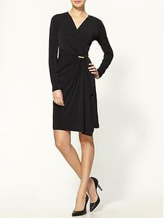 @Kate Goodwin Barton great wrap dress, could wear with a funky necklace or colorful scarf.
