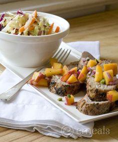 Pork Tenderloin with Peach Salsa and Peppery Slaw #porktenderloin #paleorecipes