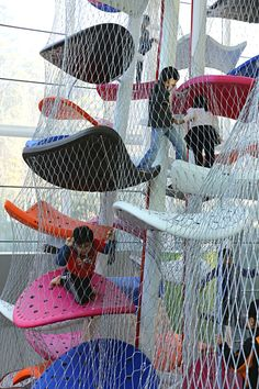 Gyeonggi Children's Museum Climbing Gym, South Korea designed by Luckey Inside Playground, Playground Design, Outdoor Playground, Children Playground, Modern Playground, Playground Ideas, Natural Playground, Habitat Collectif, Cool Playgrounds