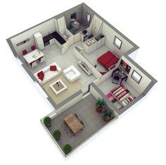 Planos de departamentos dos dormitorios | Construye Hogar