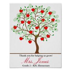 Teacher appreciation tree apple thank you christma poster