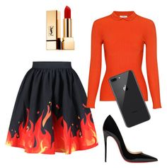 """This Girl is on Fire"" by martin-olivia-grace ❤ liked on Polyvore featuring WithChic, Ganni, Christian Louboutin and Yves Saint Laurent"