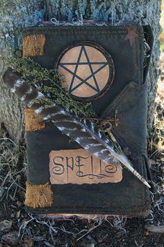 Primitive Folk Art Halloween Witch Spell Book
