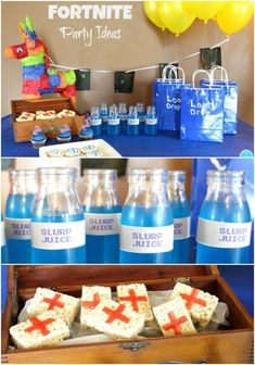 FORTNITE Party Ideas: Deocrations, Food, and Fun for a FORTNITE Birthday Party! #fortnite #videogames #partyplanning #partyfood #partydecor #partyfavors #diy #slurpjuice #pinata #partydecorations