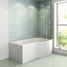 Ceramica P Shaped Shower Bath, Screen & Panel - 1500mm Right Hand