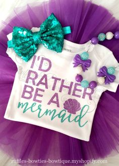I'd Rather be a Mermaid Glitter Merbabe Shirt - Ruffles & Bowties Bowtique - 3 Little Mermaid Birthday, Little Mermaid Parties, The Little Mermaid, 3rd Birthday Parties, Girl Birthday, Birthday Ideas, First Birthdays, Mermaid Glitter, Mermaids