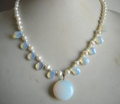 pearl necklace - white  pearl  & opal necklace  pendant -US E-packet shipping service 7-15 days deli
