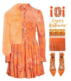 """""""Monochrome: pumpkin spice"""" by katymill ❤ liked on Polyvore featuring Free People, ZAC Zac Posen, Sies Marjan, Boutique Moschino, Burt's Bees, monochrome and pumpkinspice"""