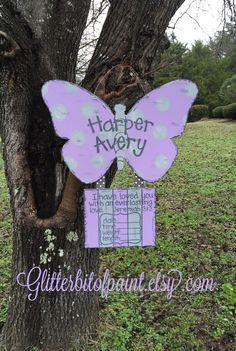 Butterfly Door Hanger Hospital Door Hanger by GlitterBitofPaint