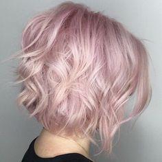 Pastel Pink Wavy Bob