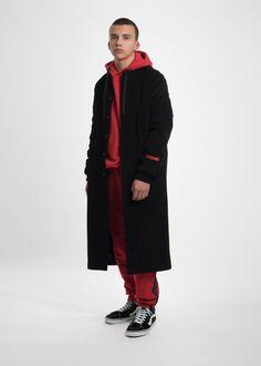 Black Wool Rope Coat