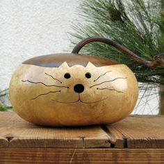 Kitty Cat Gourd Natural Centerpiece Decoration ( with removable lid ).