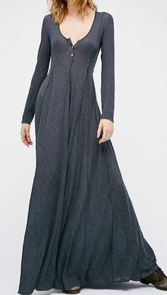 This dress made from cozy fabric detailed with solid color, scoop neck, button front, long sleeve and slim fit.
