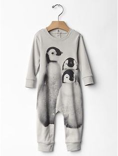 I want all the penguin things..Penguin photo one-piece | Gap