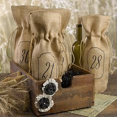 Burlap Wine Bags- Table Numbers - 21-30