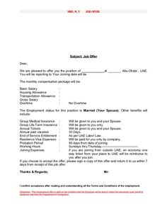 Employment Offer Letter Template | Travel Jobs and Projects ...