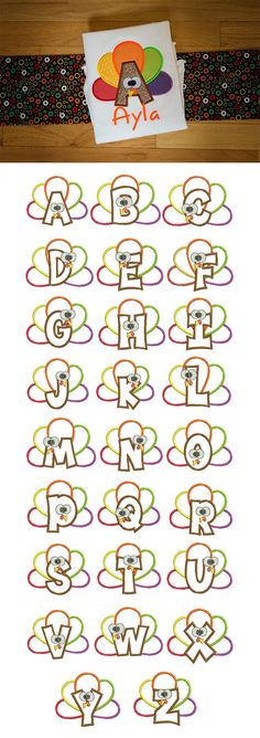 Our Turkey Applique Alphabet is a seriously adorable applique alphabet, perfect for your little turkey! Available for instant download at designsbyjuju.com