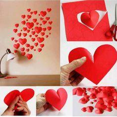 decoración de pared con corazones de papel