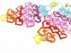 Vintage Heart Chandelier Earrings Rainbow  Boucles by MyChouchou, $13.75