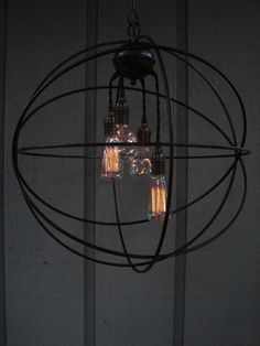 Upcycled Orbital Chandelier with Filament Edison by BenclifDesigns, $345.00
