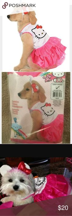 Hello Kitty pet costume Costume printed dog dress  Size Large fits up to 20-inch chest and 22-inch neck to tail  Suggested for Bichon Frise, Beagle, Cocker Spaniel, Corgi, Scottish Terrier and similar size animals  Hello Kitty and all of her friends are brought to you by Sanrio and licensed by Rubies Worldwide Rubie's Other