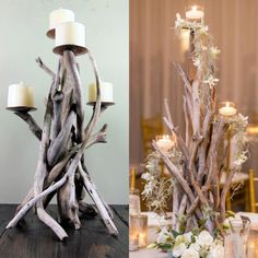 Gorgeous driftwood centerpieces for any event are our specialty!