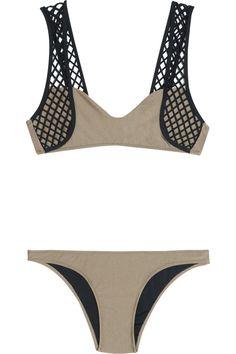 Shimmi Knox lattice-trimmed bikini