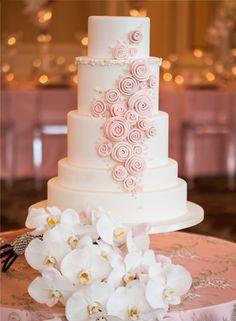 Pretty Pastel Pink Swirls on Tiered Wedding Cake wedding pink flowers cake